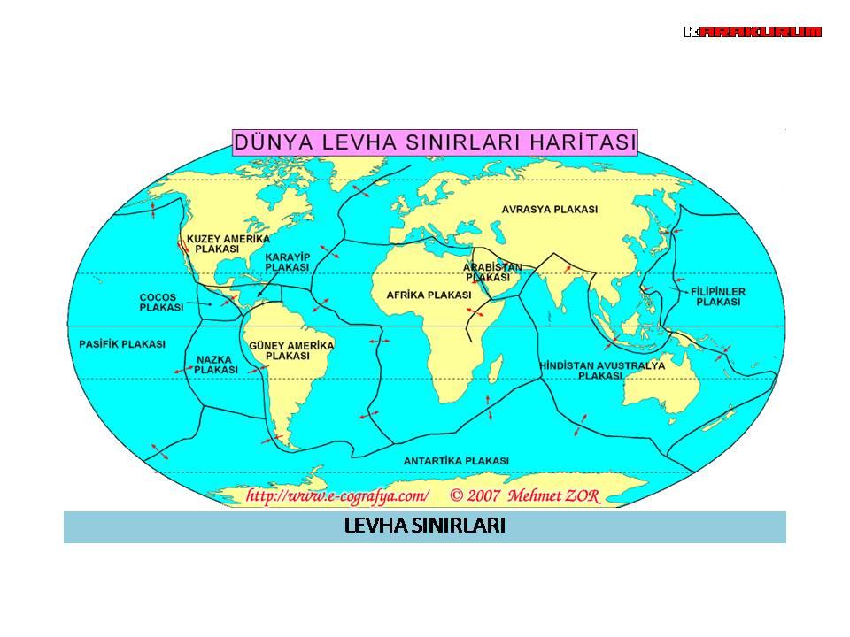 Dünya levha sınırları haritası