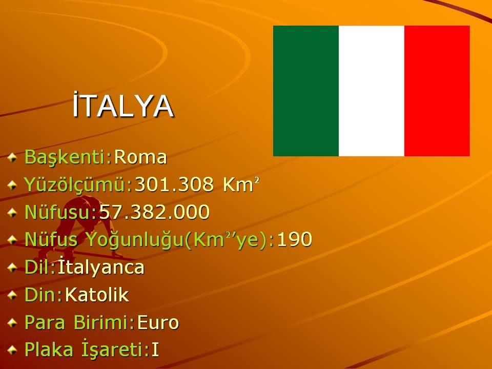 Italya ülkesine ait genel bilgiler slaytı