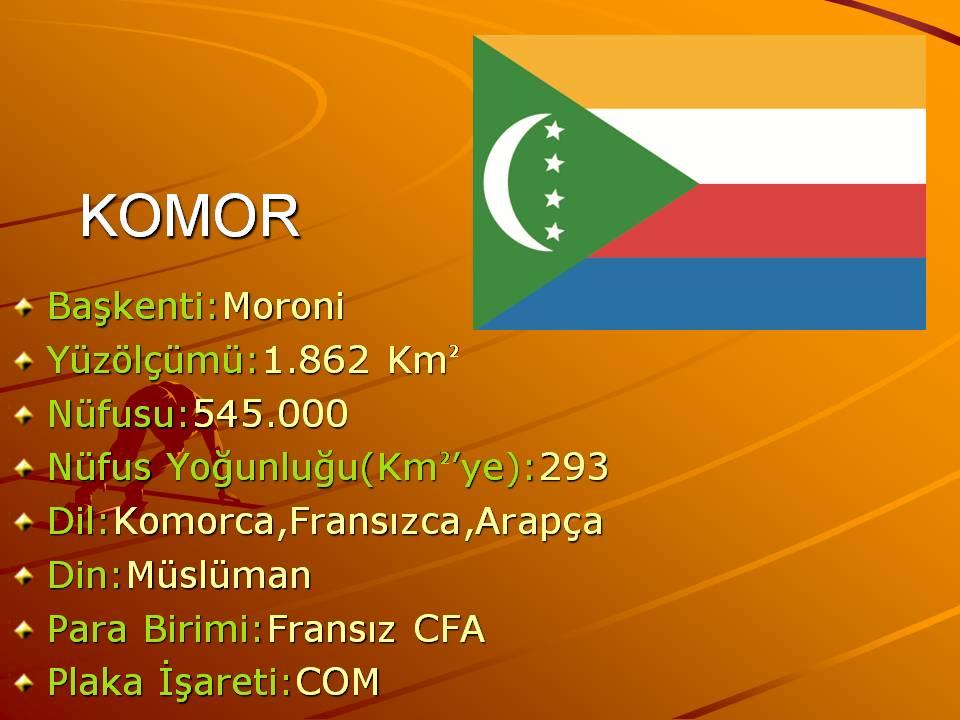 Komor ülkesine ait genel bilgiler slaytı