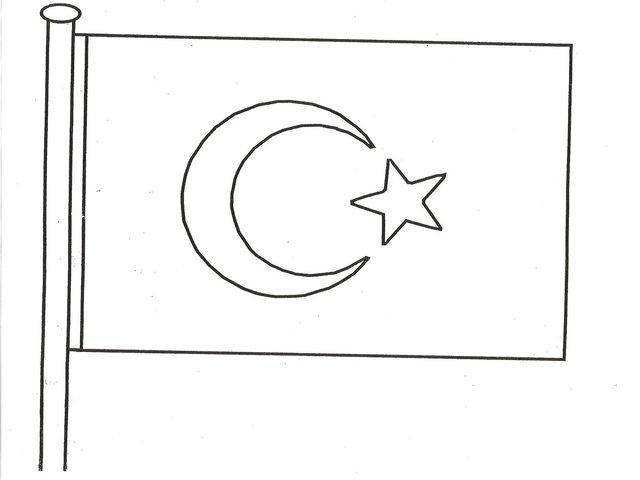 Turk Bayragi Boyama Sayfasi 29 Ekim Cumhuriyet Bayrami